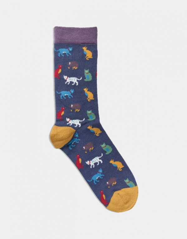 Women's Cat Socks Navy