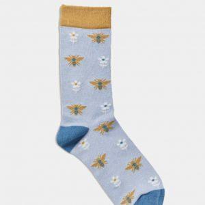 Women's Socks - Bees Pale Blue