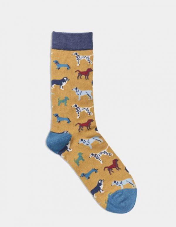 Women's Socks - Dogs Mustard
