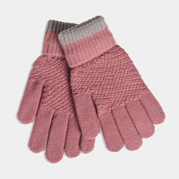 Moss Stitch Mauve Gloves