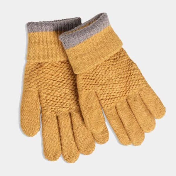 Moss Stitch Mustard Gloves