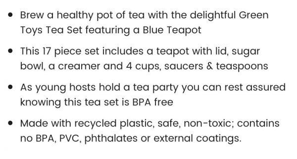 Green Toys Tea Set Blue Teapot